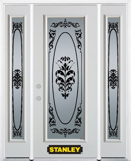 66-inch x 82-inch Renoir Full Lite Finished White Steel Entry Door with Sidelites and Brickmould
