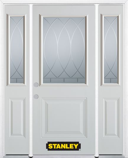 66-inch x 82-inch Bourgogne 1/2-Lite 1-Panel White Steel Entry Door with Sidelites and Brickmould