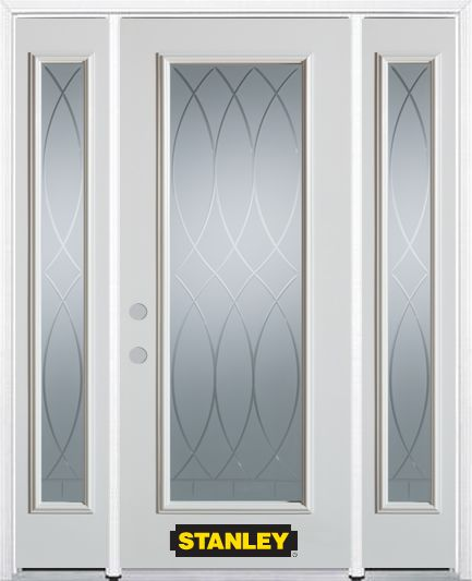 64-inch x 82-inch Bourgogne Full Lite Finished White Steel Entry Door with Sidelites and Brickmou...