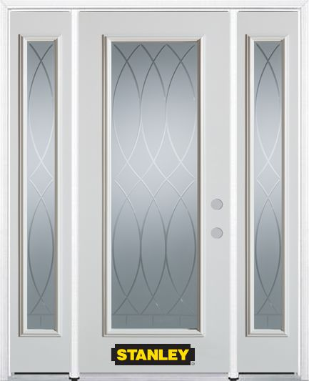 68-inch x 82-inch Bourgogne Full Lite Finished White Steel Entry Door with Sidelites and Brickmou...