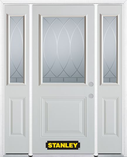 64-inch x 82-inch Bourgogne 1/2-Lite 1-Panel White Steel Entry Door with Sidelites and Brickmould