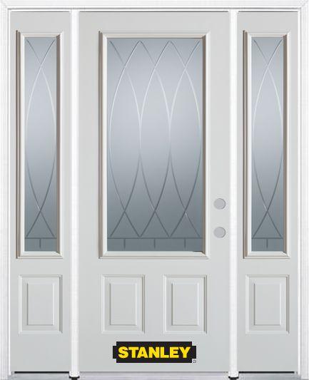 Stanley Doors 68.5 inch x 82.375 inch Bourgogne 3/4 Lite 2-Panel Prefinished White Left-Hand Inswing Steel Prehung Front Door with Sidelites and Brickmould