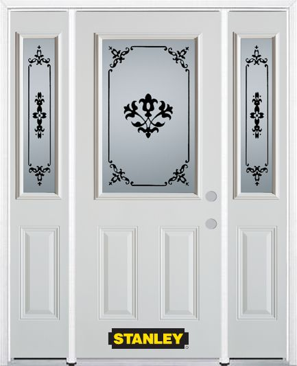 68-inch x 82-inch Renoir 1/2-Lite 2-Panel White Steel Entry Door with Sidelites and Brickmould