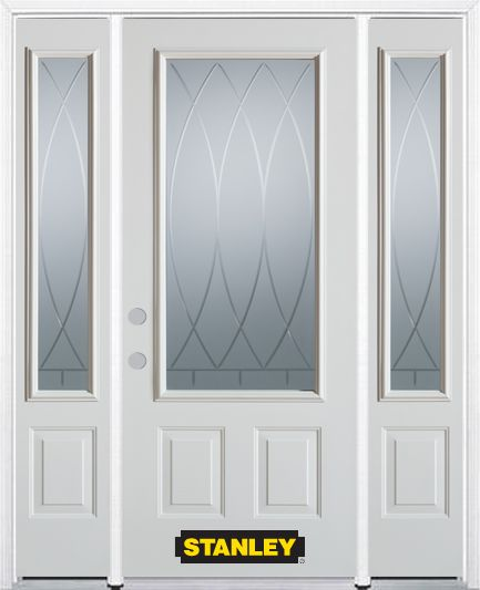 64-inch x 82-inch Bourgogne 3/4-Lite 2-Panel White Steel Entry Door with Sidelites and Brickmould