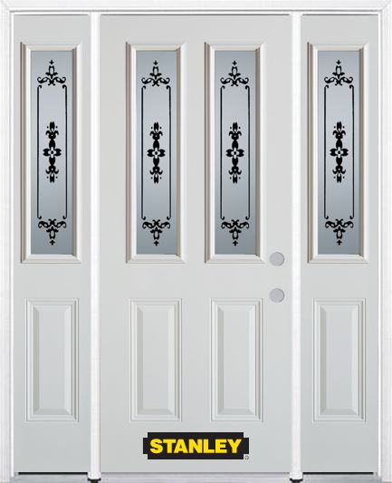 64-inch x 82-inch Renoir 2-Lite 2-Panel White Steel Entry Door with Sidelites and Brickmould