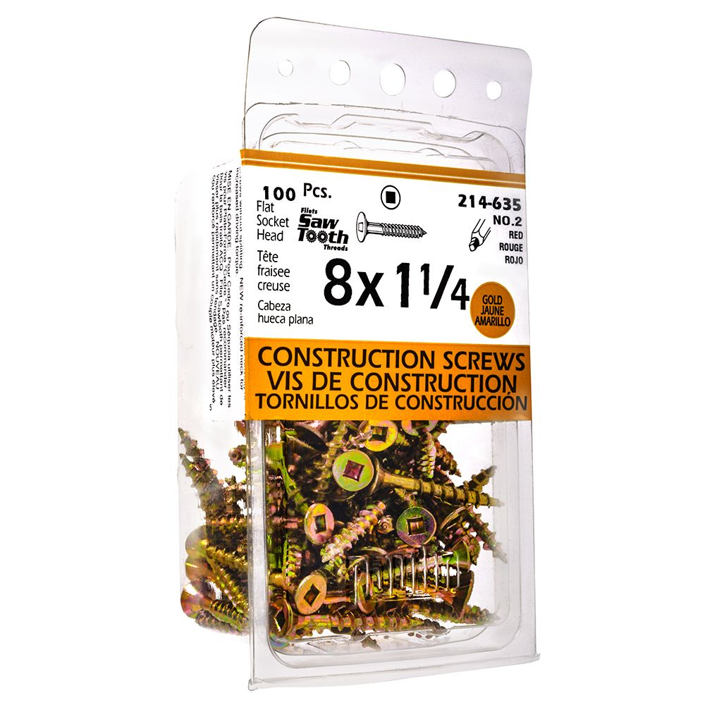 8x1-1/4 Construction Screws - 100 Pieces