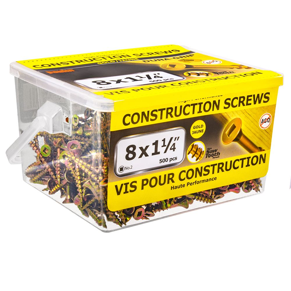 8x1-1/4 Construction Screws - 500 Pieces