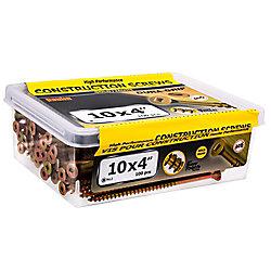 Paulin Vis de construction à tête plate carrée #10 x 4 pouces en or - 100pcs
