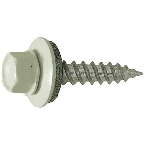 Paulin #10 x 1-1/2 -inch Hex Head Self-Sealing Roofing / Siding Screws - Zinc Plated - White -100pcs