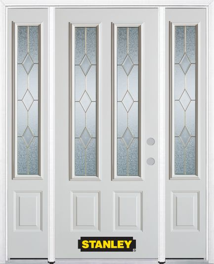 64-inch x 82-inch Tulip 2-Lite 2-Panel Finished White Steel Entry Door with Sidelites and Brickmo...