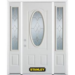 Stanley Doors 66.5 inch x 82.375 inch Tulip Brass 3/4 Oval Lite 2-Panel Prefinished White Right-Hand Inswing Steel Prehung Front Door with Sidelites and Brickmould