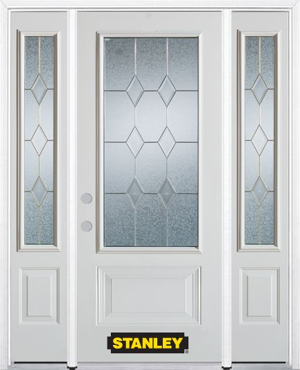 Stanley Doors 66.5 inch x 82.375 inch Tulip Brass 3/4 Lite 1-Panel Prefinished White Right-Hand Inswing Steel Prehung Front Door with Sidelites and Brickmould