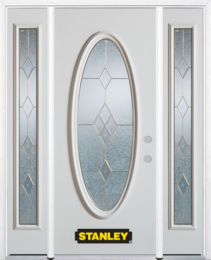 66-inch x 82-inch Tulip Full Oval Lite Finished White Steel Entry Door with Sidelites and Brickmo...