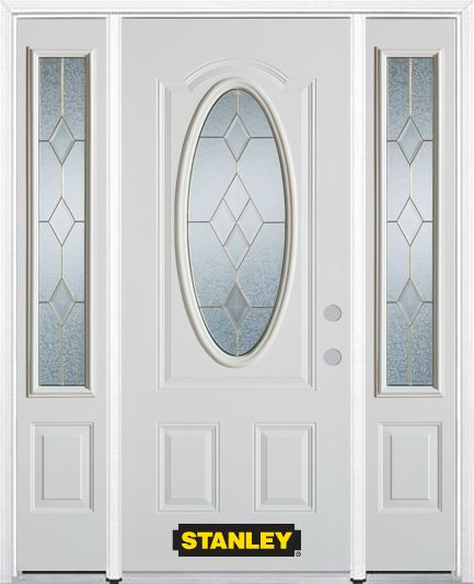 Stanley Doors 66.5 inch x 82.375 inch Tulip Brass 3/4 Oval Lite 2-Panel Prefinished White Left-Hand Inswing Steel Prehung Front Door with Sidelites and Brickmould