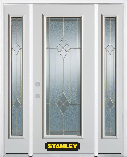 66-inch x 82-inch Beatrice Full Lite Finished White Steel Entry Door with Sidelites and Brickmoul...