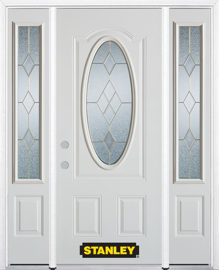 64-inch x 82-inch Tulip Oval 3/4-Lite Finished White Steel Entry Door with Sidelites and Brickmou...