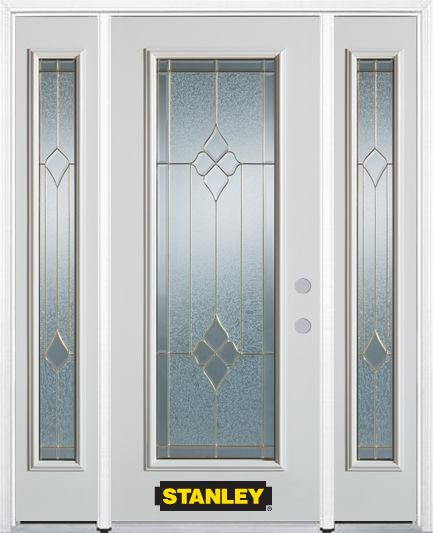 64-inch x 82-inch Beatrice Full Lite Finished White Steel Entry Door with Sidelites and Brickmoul...