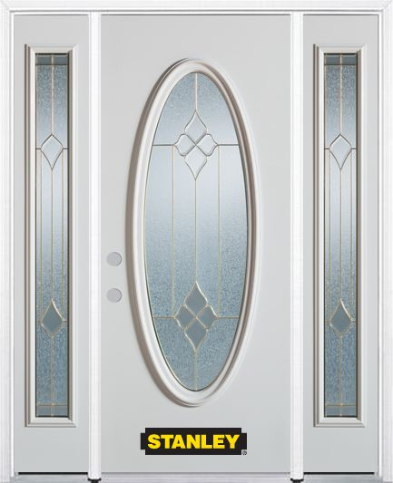 Stanley Doors 64.5 inch x 82.375 inch Beatrice Brass Full Oval Lite Prefinished White Right-Hand Inswing Steel Prehung Front Door with Sidelites and Brickmould