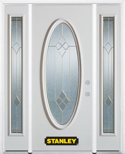 64-inch x 82-inch Beatrice Full Oval Lite White Steel Entry Door with Sidelites and Brickmould