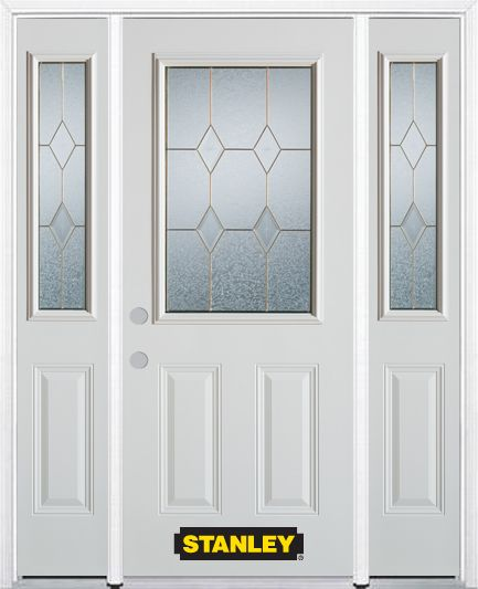 Stanley Doors 64.5 inch x 82.375 inch Tulip Brass 1/2 Lite 2-Panel Prefinished White Right-Hand Inswing Steel Prehung Front Door with Sidelites and Brickmould
