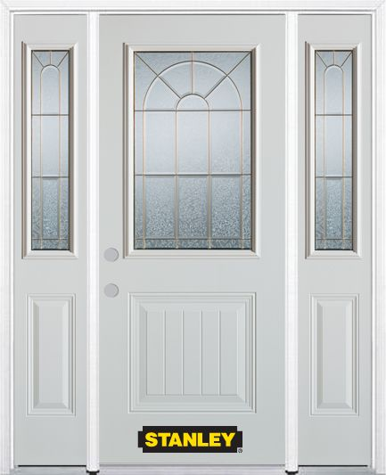 64-inch x 82-inch Elisabeth 1/2-Lite 1-Panel White Steel Entry Door with Sidelites and Brickmould
