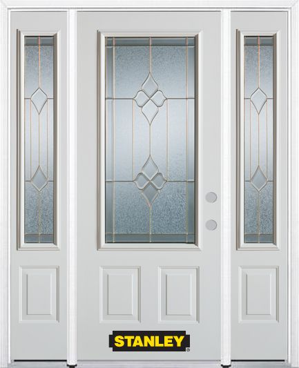 68-inch x 82-inch Beatrice 3/4-Lite 2-Panel White Steel Entry Door with Sidelites and Brickmould