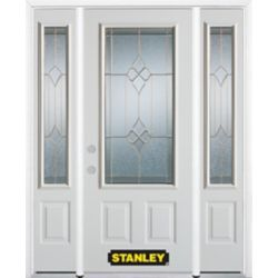 Stanley Doors 64.5 inch x 82.375 inch Beatrice Brass 3/4 Lite 2-Panel Prefinished White Right-Hand Inswing Steel Prehung Front Door with Sidelites and Brickmould