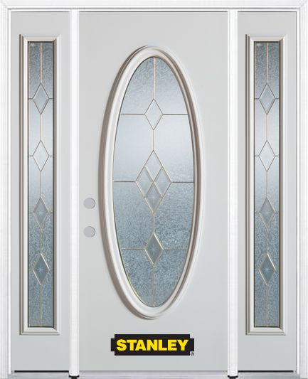 68-inch x 82-inch Tulip Full Oval Lite Finished White Steel Entry Door with Sidelites and Brickmo...