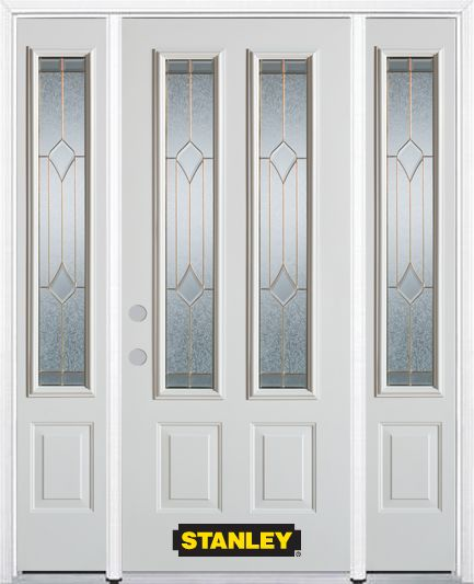 Stanley Doors 68.5 inch x 82.375 inch Beatrice Brass 2-Lite 2-Panel Prefinished White Right-Hand Inswing Steel Prehung Front Door with Sidelites and Brickmould