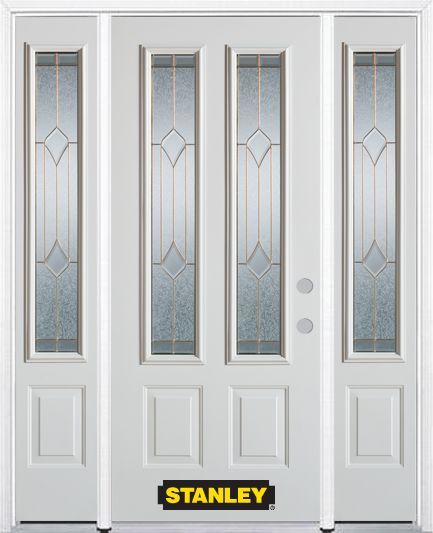 Stanley Doors 68.5 inch x 82.375 inch Beatrice Brass 2-Lite 2-Panel Prefinished White Left-Hand Inswing Steel Prehung Front Door with Sidelites and Brickmould