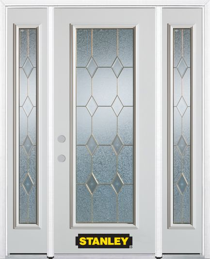 64-inch x 82-inch Tulip Full Lite Finished White Steel Entry Door with Sidelites and Brickmould