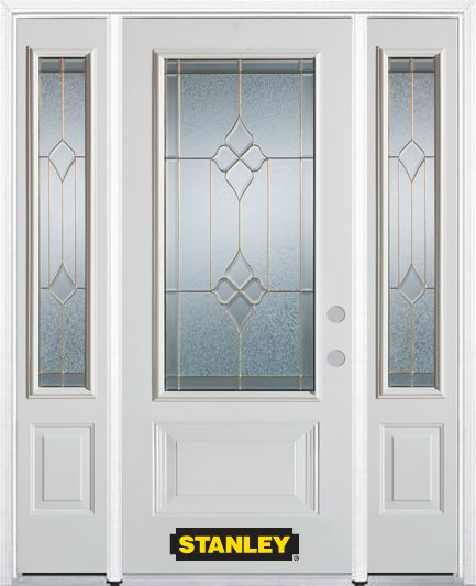 66-inch x 82-inch Beatrice 3/4-Lite 2-Panel White Steel Entry Door with Sidelites and Brickmould
