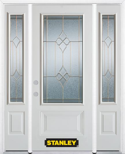 64-inch x 82-inch Beatrice 3/4-Lite 2-Panel White Steel Entry Door with Sidelites and Brickmould