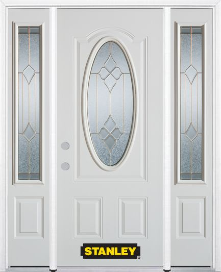 68-inch x 82-inch Beatrice Oval 3/4-Lite White Steel Entry Door with Sidelites and Brickmould