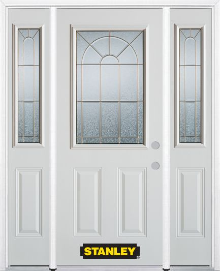 Stanley Doors 64.5 inch x 82.375 inch Elisabeth Brass 1/2 Lite 2-Panel Prefinished White Left-Hand Inswing Steel Prehung Front Door with Sidelites and Brickmould