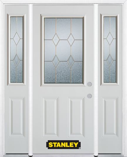 64-inch x 82-inch Tulip 1/2-Lite 2-Panel White Steel Entry Door with Sidelites and Brickmould