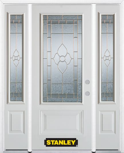 68-inch x 82-inch Marguerite 3/4-Lite 2-Panel White Steel Entry Door with Sidelites and Brickmoul...