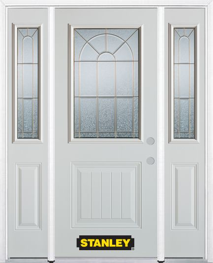 68-inch x 82-inch Elisabeth 1/2-Lite 1-Panel White Steel Entry Door with Sidelites and Brickmould