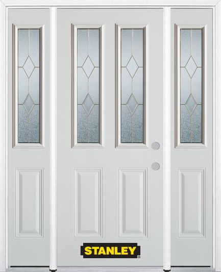 68-inch x 82-inch Tulip 2-Lite 2-Panel Finished White Steel Entry Door with Sidelites and Brickmo...