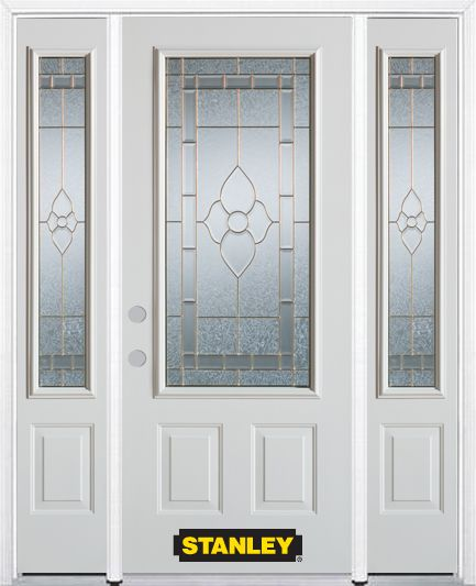 66-inch x 82-inch Marguerite 3/4-Lite 2-Panel White Steel Entry Door with Sidelites and Brickmoul...