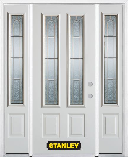 64-inch x 82-inch Elisabeth 2-Lite 2-Panel White Steel Entry Door with Sidelites and Brickmould