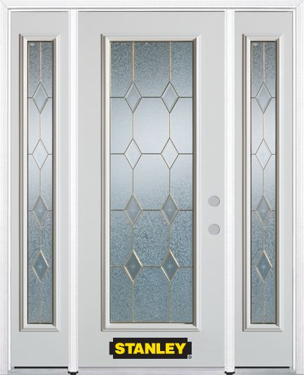 66-inch x 82-inch Tulip Full Lite Finished White Steel Entry Door with Sidelites and Brickmould