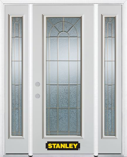 64-inch x 82-inch Elisabeth Full Lite Finished White Steel Entry Door with Sidelites and Brickmou...