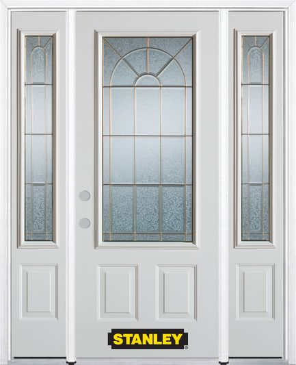 64-inch x 82-inch Elisabeth 3/4-Lite 2-Panel White Steel Entry Door with Sidelites and Brickmould