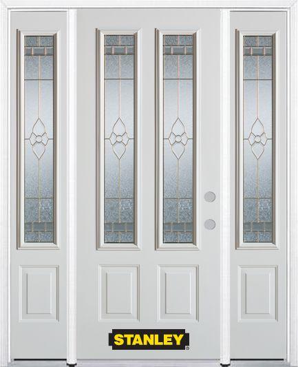 Porte dentrée en acier préfini blanc, munie de deux panneaux et de deux verre, 74 po x 82 po avec...