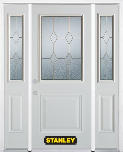 Stanley Doors 64.5 inch x 82.375 inch Tulip Brass 1/2 Lite 1-Panel Prefinished White Right-Hand Inswing Steel Prehung Front Door with Sidelites and Brickmould