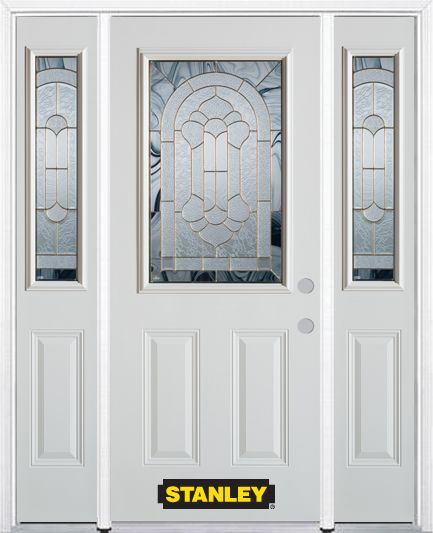 66-inch x 82-inch Radiance 1/2-Lite 2-Panel White Steel Entry Door with Sidelites and Brickmould