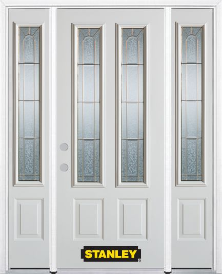 Stanley Doors 64.5 inch x 82.375 inch Elisabeth Brass 2-Lite 2-Panel Prefinished White Right-Hand Inswing Steel Prehung Front Door with Sidelites and Brickmould