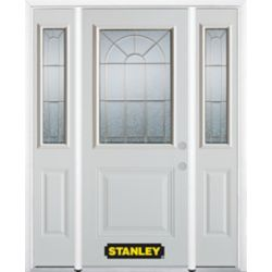 Stanley Doors 64.5 inch x 82.375 inch Elisabeth Brass 1/2 Lite 1-Panel Prefinished White Left-Hand Inswing Steel Prehung Front Door with Sidelites and Brickmould
