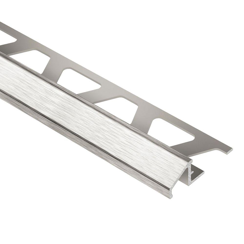 Reno-TK Brushed Nickel Anodized Aluminum 5/16 in. x 8 ft. 2-1/2 in. Metal Reducer Tile Edging Tri...